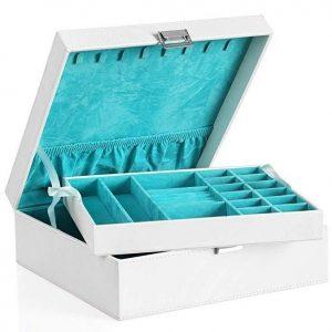 Caja joyero turquesa y blanca