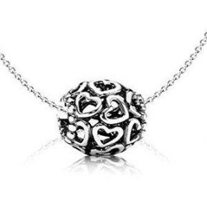 Collar Pandora de cadena Charm con corazones