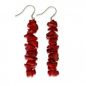 Pendientes de coral rojo natural