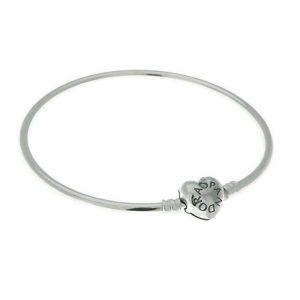 Pulsera Pandora rígida corazón de plata